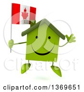Clipart Of A 3d Happy Green House Character Holding A Canadian Flag On A White Background Royalty Free Illustration