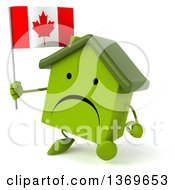 Clipart Of A 3d Unhappy Green House Character Holding A Canadian Flag On A White Background Royalty Free Illustration