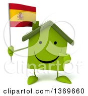 Clipart Of A 3d Happy Green House Character Holding A Spanish Flag On A White Background Royalty Free Illustration