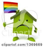 Clipart Of A 3d Green Home Character Holding A Rainbow Flag On A White Background Royalty Free Illustration