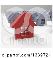 Clipart Of A 3d Red House Standing Out In A Neighborhood Of Silver Homes Royalty Free Illustration