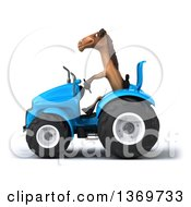 Poster, Art Print Of 3d Brown Horse Operating A Tractor On A White Background