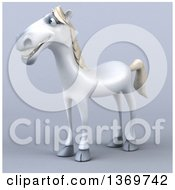 Clipart Of A 3d Happy White Horse On A Gray Background Royalty Free Illustration by Julos