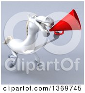 Clipart Of A 3d Happy White Horse Using A Megaphone On A Gray Background Royalty Free Illustration by Julos
