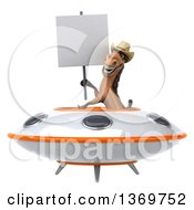 Clipart Of A 3d Brown Cowboy Horse Flying A Ufo On A White Background Royalty Free Illustration