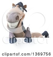 Clipart Of A 3d Happy Beige Horse On A White Background Royalty Free Illustration by Julos