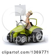 Poster, Art Print Of 3d Brown Cowboy Horse Operating A Tractor On A White Background