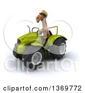 Clipart Of A 3d Brown Cowboy Horse Operating A Tractor On A White Background Royalty Free Illustration