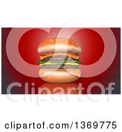 Clipart Of A 3d Juicy Double Cheeseburger On A Red Background Royalty Free Illustration