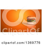 Clipart Of A 3d Juicy Double Cheeseburger On An Orange Background Royalty Free Illustration by Julos