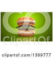 Clipart Of A 3d Juicy Double Cheeseburger On A Green Background Royalty Free Illustration by Julos