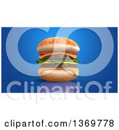 Clipart Of A 3d Juicy Double Cheeseburger On A Blue Background Royalty Free Illustration by Julos