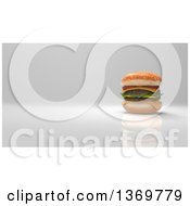 Clipart Of A 3d Juicy Double Cheeseburger On A Gray Background Royalty Free Illustration by Julos