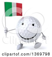 Clipart Of A 3d Happy Golf Ball Character Holding An Italian Flag On A White Background Royalty Free Illustration