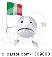 Clipart Of A 3d Unhappy Golf Ball Character Holding An Italian Flag On A White Background Royalty Free Illustration