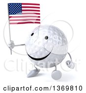 Clipart Of A 3d Happy Golf Ball Character Holding An American Flag On A White Background Royalty Free Illustration