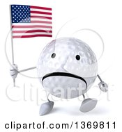 Clipart Of A 3d Unhappy Golf Ball Character Holding An American Flag On A White Background Royalty Free Illustration