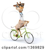 Clipart Of A 3d Bespectacled Doctor Or Veterinary Giraffe Riding A Bicycle On A White Background Royalty Free Illustration