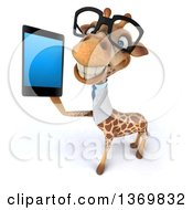 Clipart Of A 3d Bespectacled Doctor Or Veterinary Giraffe Holding Up A Smart Phone On A White Background Royalty Free Illustration