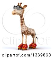 Clipart Of A 3d Giraffe Wearing Sunglasses And Roller Blade Skates On A White Background Royalty Free Illustration