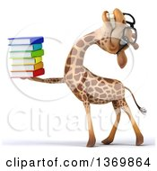 Clipart Of A 3d Bespectacled Giraffe Holding A Stack Of Books On A White Background Royalty Free Illustration