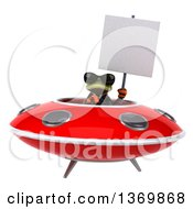 Clipart Of A 3d Green Business Springer Frog Flying A Ufo On A White Background Royalty Free Illustration