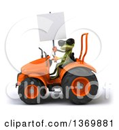 Clipart Of A 3d Green Springer Frog Operating A Tractor On A White Background Royalty Free Illustration