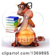 Clipart Of A 3d Red Dragon Holding A Stack Of Books On A White Background Royalty Free Illustration