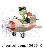 Clipart Of A 3d Green Dragon Aviator Pilot Flying An Airplane On A White Background Royalty Free Illustration
