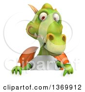 Clipart Of A 3d Casual Green Dragon Wearing A White T Shirt On A White Background Royalty Free Illustration