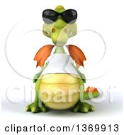 Clipart Of A 3d Casual Green Dragon Wearing Sunglasses And A White T Shirt On A White Background Royalty Free Illustration