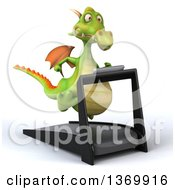 Clipart Of A 3d Green Dragon Running On A Treadmill On A White Background Royalty Free Illustration