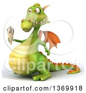 Clipart Of A 3d Green Dragon Holding A Waffle Ice Cream Cone On A White Background Royalty Free Illustration
