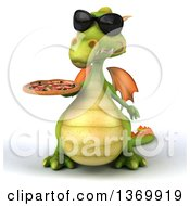 Clipart Of A 3d Green Dragon Wearing Sunglasses And Holding A Pizza On A White Background Royalty Free Illustration