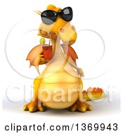Poster, Art Print Of 3d Yellow Dragon Drinking Tea On A White Background
