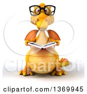Clipart Of A 3d Yellow Dragon Wearing Glasses And Reading A Book On A White Background Royalty Free Illustration