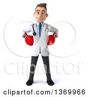 Clipart Of A 3d Young White Male Doctor Wearing Boxing Gloves On A White Background Royalty Free Illustration by Julos