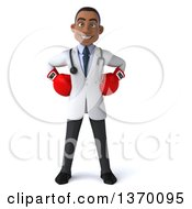 Clipart Of A 3d Young Black Male Doctor Wearing Boxing Gloves On A White Background Royalty Free Illustration