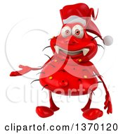Clipart Of A 3d Red Christmas Germ Virus Presenting On A White Background Royalty Free Illustration
