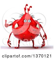 Clipart Of A 3d Red Virus Giving A Thumb Up On A White Background Royalty Free Illustration