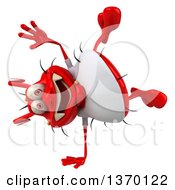 Clipart Of A 3d Casual Red Germ Virus Cartwheeling On A White Background Royalty Free Illustration