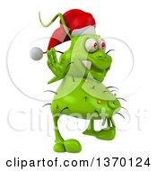 Clipart Of A 3d Green Christmas Germ Wearing A Santa Hat And Waving On A White Background Royalty Free Illustration