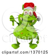 Clipart Of A 3d Green Christmas Germ Wearing A Santa Hat And Giving A Thumb Down On A White Background Royalty Free Illustration