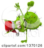 Clipart Of A 3d Green Christmas Germ Wearing A Santa Hat And Cartwheeling On A White Background Royalty Free Illustration