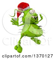Clipart Of A 3d Green Christmas Germ Wearing A Santa Hat And Jumping On A White Background Royalty Free Illustration