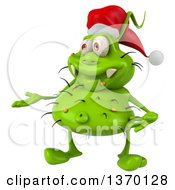Clipart Of A 3d Green Christmas Germ Wearing A Santa Hat And Presenting On A White Background Royalty Free Illustration