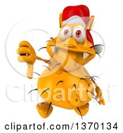 Clipart Of A 3d Yellow Christmas Germ Wearing A Santa Hat Giving A Thumb Down On A White Background Royalty Free Illustration