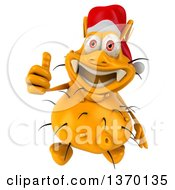 Clipart Of A 3d Yellow Christmas Germ Wearing A Santa Hat Giving A Thumb Up On A White Background Royalty Free Illustration
