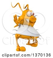Clipart Of A 3d Casual Yellow Germ Waving On A White Background Royalty Free Illustration