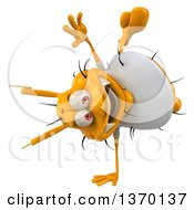 Clipart Of A 3d Casual Yellow Germ Cartwheeling On A White Background Royalty Free Illustration